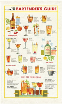 Dish Towel with vintage design bartenders guide featuring old school cocktail recipes and bartending tips