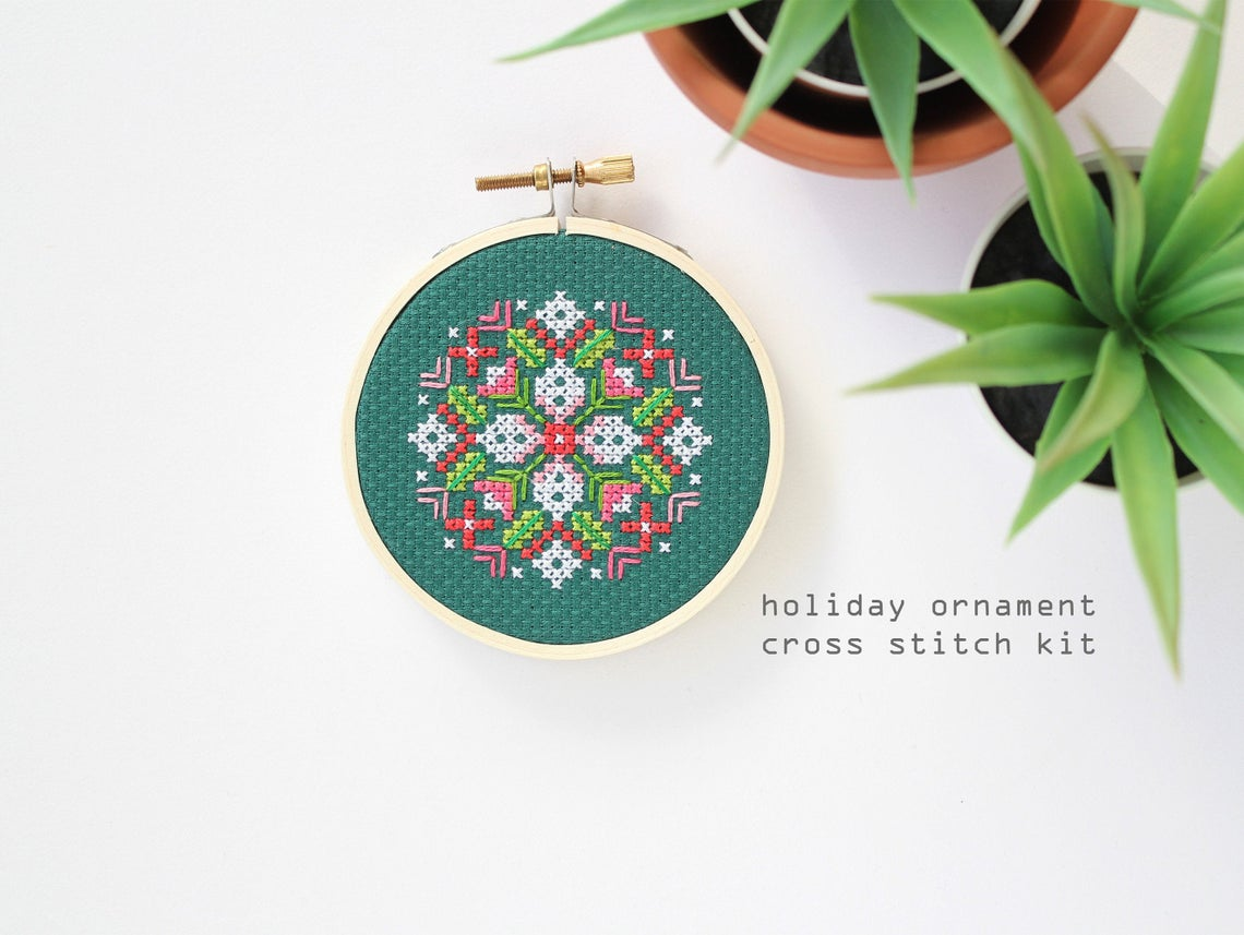 Winter Bouquet Ornament Cross Stitch Kit