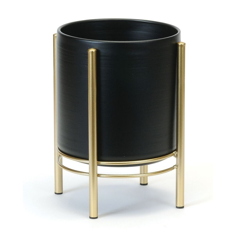 Plant Pot/Stand - Gold+Black 7.5""
