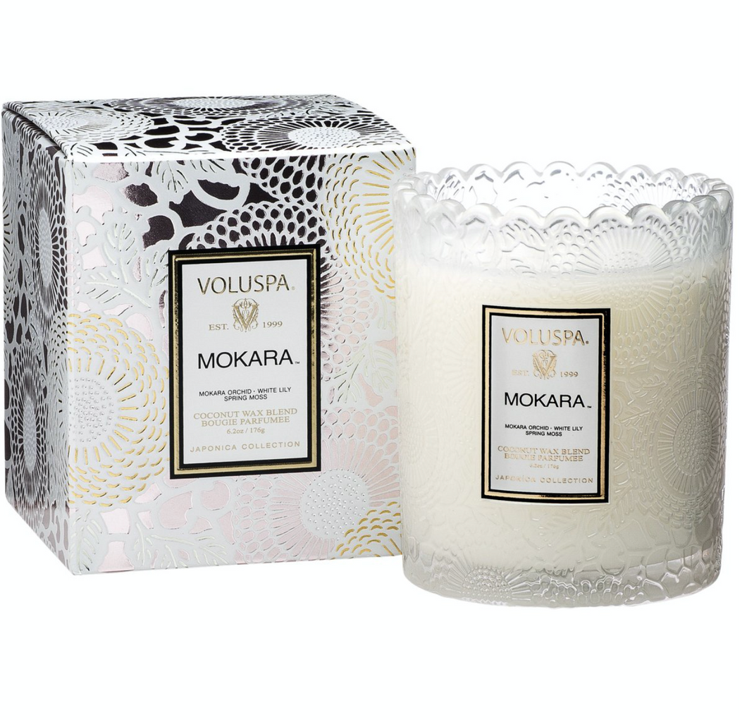 Mokara Scalloped Edge Glass Candle