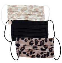 Load image into Gallery viewer, Leopard 3 pack Reusable Cotton Face Masks