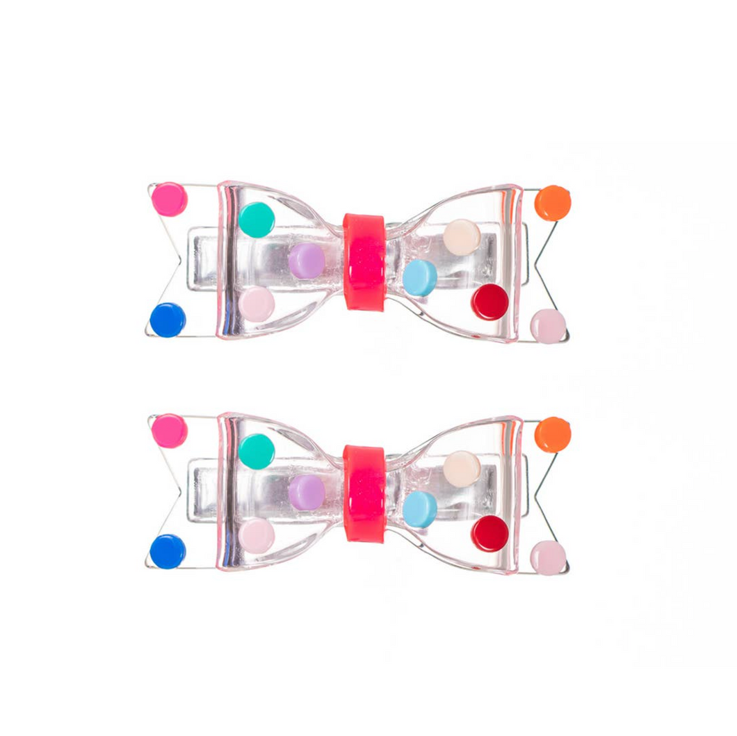 Clear Bows with Colorful Dots Hair Clips