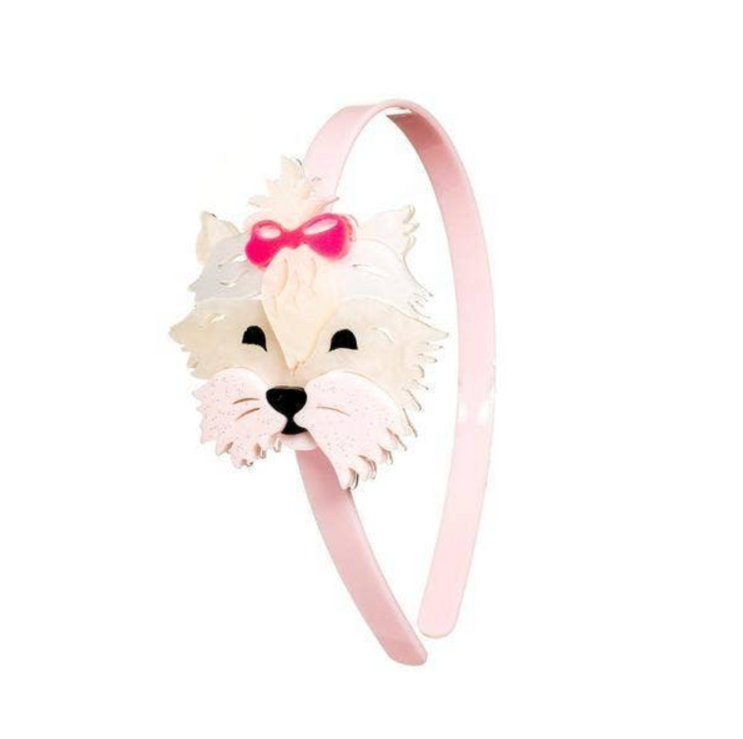 White Dog with Pink Bow Headband