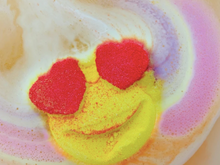 Load image into Gallery viewer, Heart Eyes Emoji Rainbow Bath Bomb