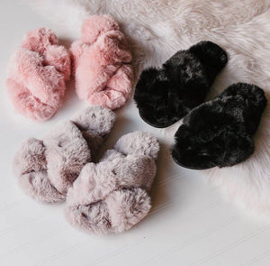 Fuzzy Crossband Slide Slippers