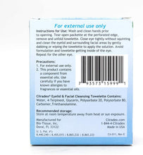 Load image into Gallery viewer, Cliradex Natural Eyelid, Eyelash, and Facial Cleansing Towelettes, Box of 24