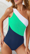 Load image into Gallery viewer, One shoulder Stripe Green