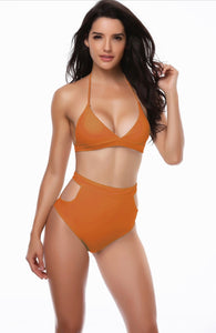 High Waist Bikini Deep Orange