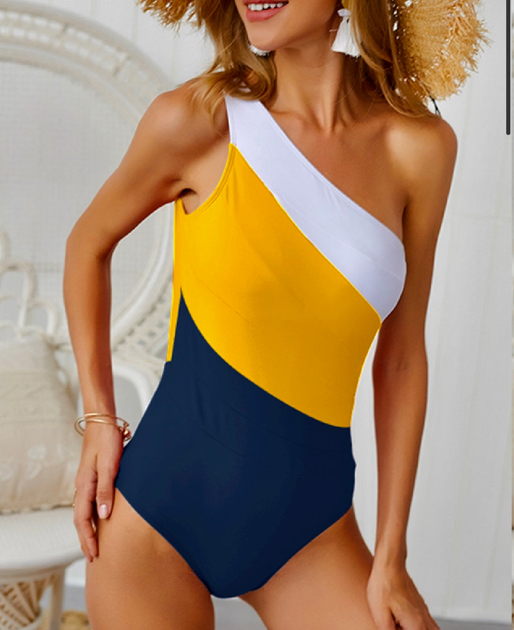 One Shoulder Striped Yellow Bikini