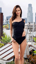 Load image into Gallery viewer, Black Ruched One Piece