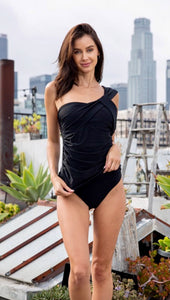 Black Ruched One Piece