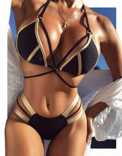 Load image into Gallery viewer, Black & Gold Bandage Bikini
