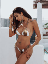 Load image into Gallery viewer, White & Gold G-String Bikini