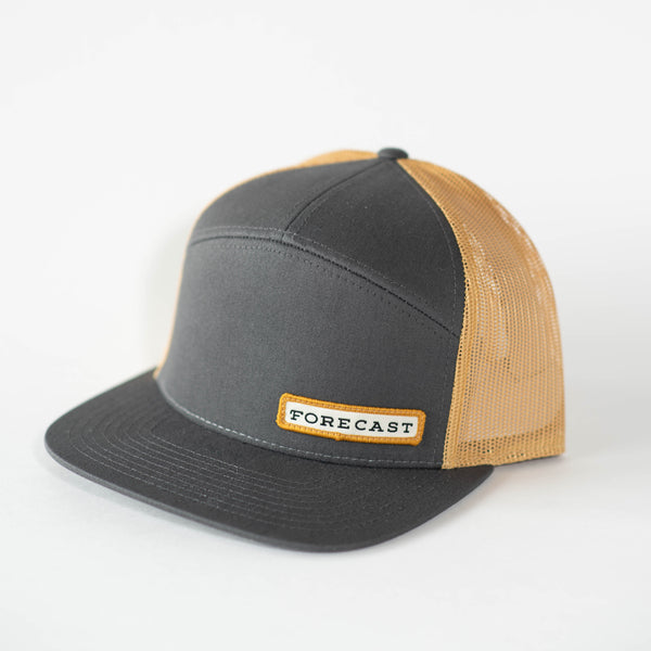 7-Panel Hat - Grey + Gold