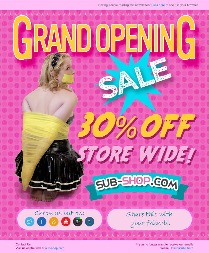 Sub-Shop.com Grand Opening Sale 30% Off STORE-WIDE!