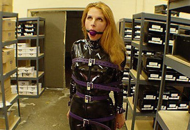 Sexy Full Bondage Outfit in Latex Suit with Straps and Hood