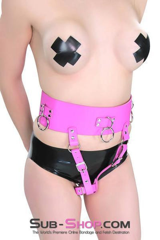1314DL      Hot Pink Leatherette Multiple Orgasms Vibrator Harness Bondage Belt - <b>MEGA Deal!</b> - Sale BDSM, Bondage Gear, Adult Toys, Bondage Sex, Orgasm Belt, Male Chastity, Gags. Bondage Slave Collars, Wrist Cuffs, Submissive, Dominant, Master, Mistress, Crossdresser, Sub-Shop Bondage and Fetish Superstore