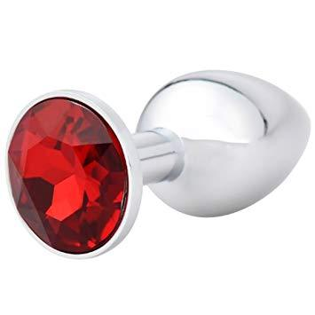 1351AE      Small Chrome Butt Plug with Red Gem