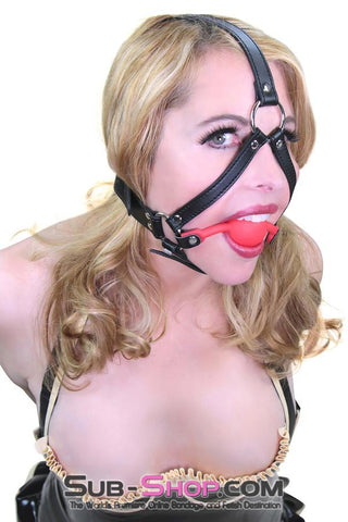 Premium Hush Red Silicone Ball Gag Harness - Sale BDSM, Bondage Gear, Adult Toys, Bondage Sex, Orgasm Belt, Male Chastity, Gags. Bondage Slave Collars, Wrist Cuffs, Submissive, Dominant, Master, Mistress, Crossdresser, Sub-Shop Bondage and Fetish Superstore
