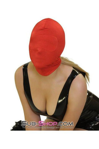 2414HS   Concealed Lust Red Spandex Hood with Blindfold Insert - Sub-Shop Bondage and Fetish Superstore