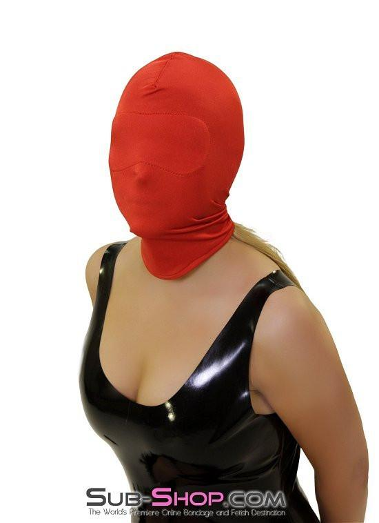 2414HS   Concealed Lust Red Spandex Hood with Blindfold Insert - Sale BDSM, Bondage Gear, Adult Toys, Bondage Sex, Orgasm Belt, Male Chastity, Gags. Bondage Slave Collars, Wrist Cuffs, Submissive, Dominant, Master, Mistress, Crossdresser, Sub-Shop Bondage and Fetish Superstore