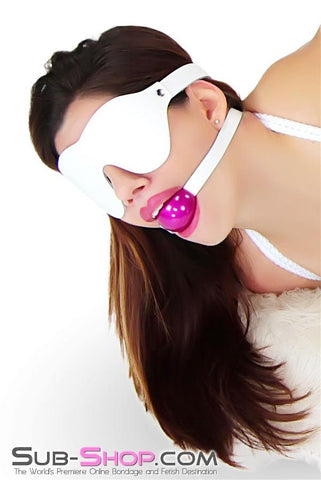 1453A    Pure Pleasure White Leather Blindfold - Sale BDSM, Bondage Gear, Adult Toys, Bondage Sex, Orgasm Belt, Male Chastity, Gags. Bondage Slave Collars, Wrist Cuffs, Submissive, Dominant, Master, Mistress, Crossdresser, Sub-Shop Bondage and Fetish Superstore