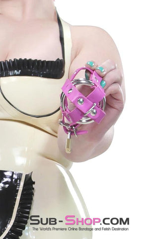 1461DL     Sissy's Locking Leatherette Cock & Balls Cage with Lead Ring Tip