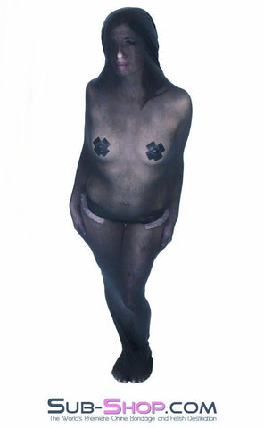 1490DL      Black Sheer Encasement Silk Stocking Full Body Sack