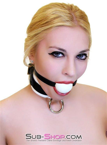 1502A       Thin Strap Buckling Ball Gag, Black Leather Strap, White Ball - Sub-Shop.comGags - 4