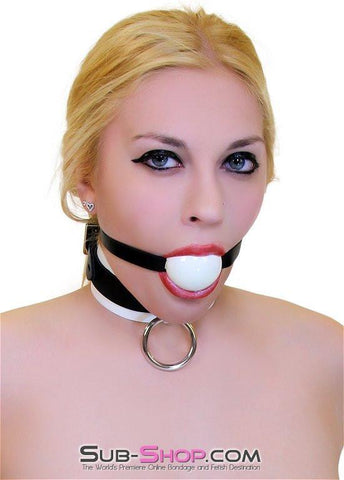 1502A       Thin Strap Buckling Ball Gag, Black Leather Strap, White Ball - Sub-Shop.comGags - 2