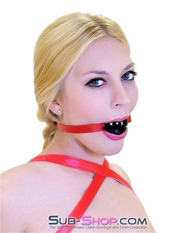 1531A      Red Hot Lover Red Leather Strap Ball Gag, Black Ball - Sub-Shop.comGags - 2