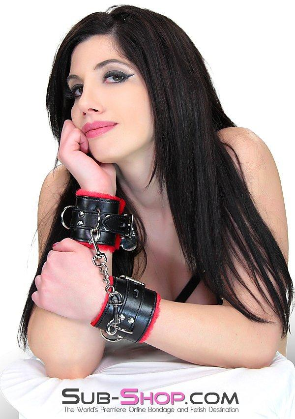 1536M      Plush Cuffs Locking Fur Lined Red & Black Wrist Bondage Cuffs - Sale BDSM, Bondage Gear, Adult Toys, Bondage Sex, Orgasm Belt, Male Chastity, Gags. Bondage Slave Collars, Wrist Cuffs, Submissive, Dominant, Master, Mistress, Crossdresser, Sub-Shop Bondage and Fetish Superstore