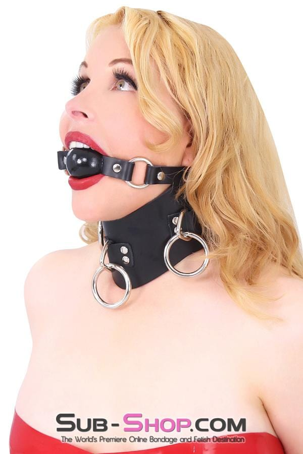 Rings of Submission Ballgag, Black Leather with Black Ball - Sale BDSM, Bondage Gear, Adult Toys, Bondage Sex, Orgasm Belt, Male Chastity, Bondage Gag. Bondage Slave Collars, Wrist Cuffs, Submissive, Dominant, Master, Mistress, Cross Dressing, Sex Toys, Bondage Sale, Bondage Clearance, MEGA Deal Bondage, Sub-Shop Bondage and Fetish Superstore