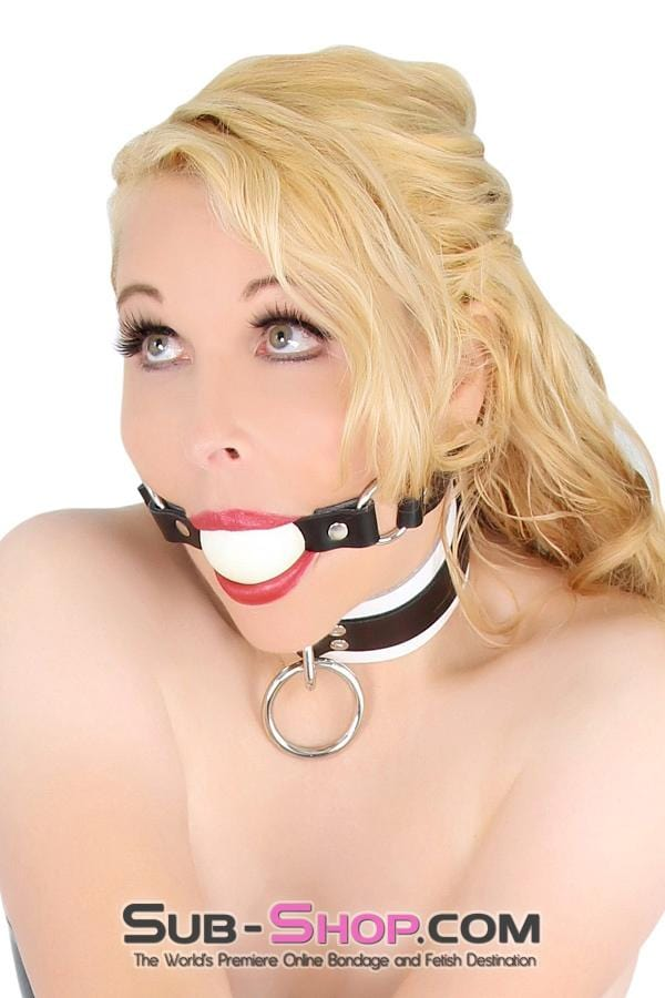 Rings of Submission Ballgag, Black Leather with White Ball - Sale BDSM, Bondage Gear, Adult Toys, Bondage Sex, Orgasm Belt, Male Chastity, Bondage Gag. Bondage Slave Collars, Wrist Cuffs, Submissive, Dominant, Master, Mistress, Cross Dressing, Sex Toys, Bondage Sale, Bondage Clearance, MEGA Deal Bondage, Sub-Shop Bondage and Fetish Superstore