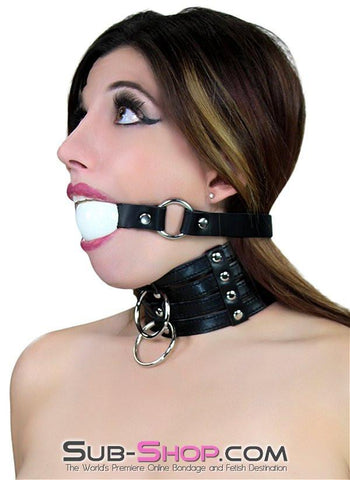 1552A     Rings of Submission Ballgag, Black Leather with White Ball - Sub-Shop Bondage and Fetish Superstore