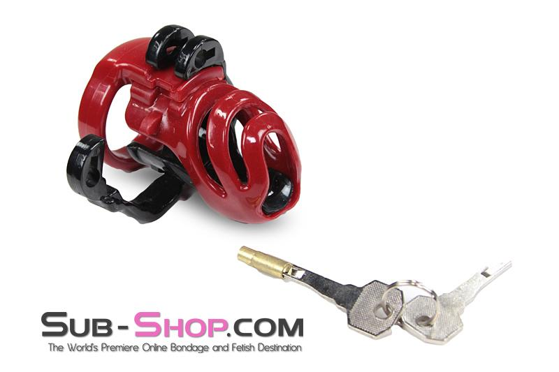 1559M      Red Knight High Security Hinged Locking Male Chastity Device - Sale BDSM, Bondage Gear, Adult Toys, Bondage Sex, Orgasm Belt, Male Chastity, Gags. Bondage Slave Collars, Wrist Cuffs, Submissive, Dominant, Master, Mistress, Crossdresser, Sub-Shop Bondage and Fetish Superstore