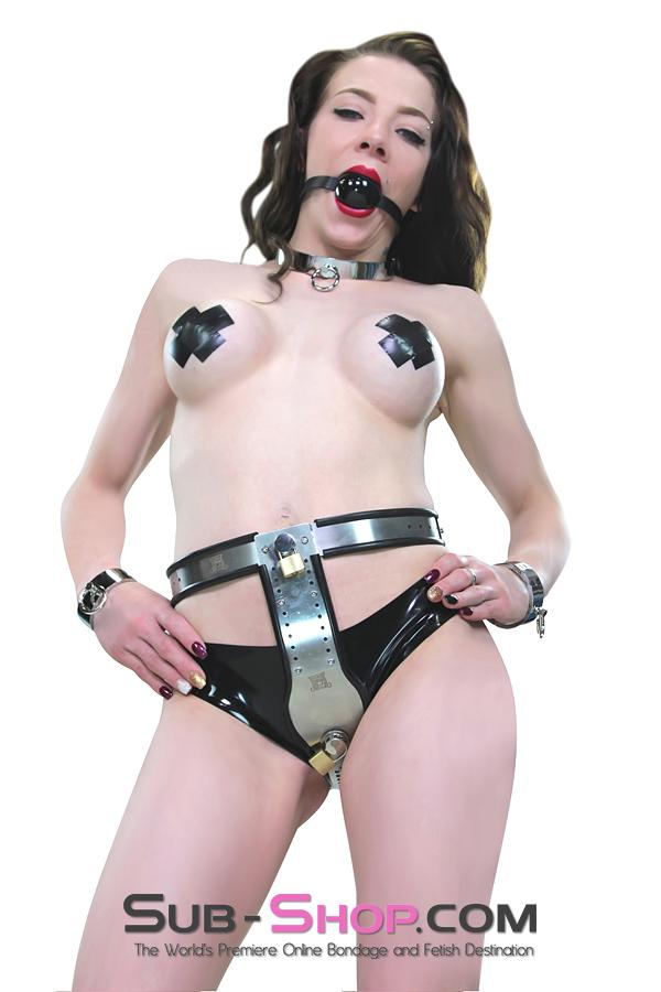 1569R      Double Jeopardy Locking Steel Female Chastity Belt with Graduated Dildo and Anal Plugs - <b>FLASH FRENZY!</b> - Sale BDSM, Bondage Gear, Adult Toys, Bondage Sex, Orgasm Belt, Male Chastity, Gags. Bondage Slave Collars, Wrist Cuffs, Submissive, Dominant, Master, Mistress, Crossdresser, Sub-Shop Bondage and Fetish Superstore
