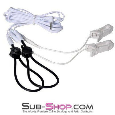 1576R      Sub Shock Electro Stim Nipple Clamps and Dual Adjustable Cock Shock Band Set with Lead Wires - Sale BDSM, Bondage Gear, Adult Toys, Bondage Sex, Orgasm Belt, Male Chastity, Gags. Bondage Slave Collars, Wrist Cuffs, Submissive, Dominant, Master, Mistress, Crossdresser, Sub-Shop Bondage and Fetish Superstore