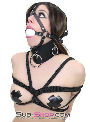 1592A  Slave's Choice Sturdy Ballgag Trainer, White Ball - Sub-Shop Bondage and Fetish Superstore