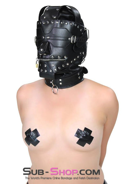 1636DL       Serious Bondage Hood with Collar, Removable Blindfold and Zip Mouth - Sale BDSM, Bondage Gear, Adult Toys, Bondage Sex, Orgasm Belt, Male Chastity, Gags. Bondage Slave Collars, Wrist Cuffs, Submissive, Dominant, Master, Mistress, Crossdresser, Sub-Shop Bondage and Fetish Superstore