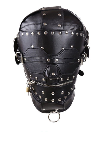 1636DL       Serious Bondage Hood with Collar, Removable Blindfold and Zip Mouth - Sub-Shop Bondage and Fetish Superstore