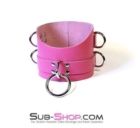 1659A      Controlled Hot Pink Leather Bondage Posture Collar - Sub-Shop.comCollar - 14