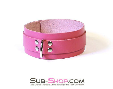 1661A      Slave to Love Hot Pink Leather Bondage Collar - Sub-Shop.comCollar - 9