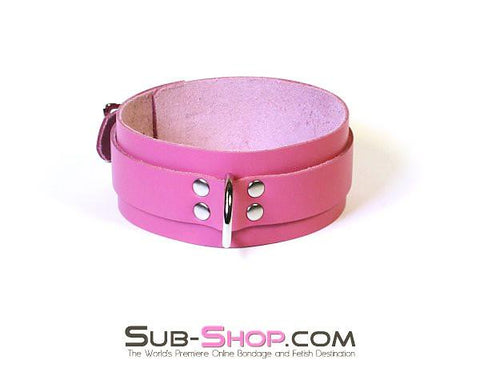 1661A      Slave to Love Hot Pink Leather Bondage Collar - Sub-Shop.comCollar - 2