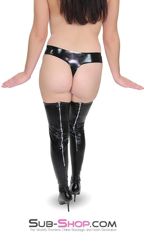 1668DL      Zipper Back Seam Wet Look Stockings - Sub-Shop Bondage and Fetish Superstore