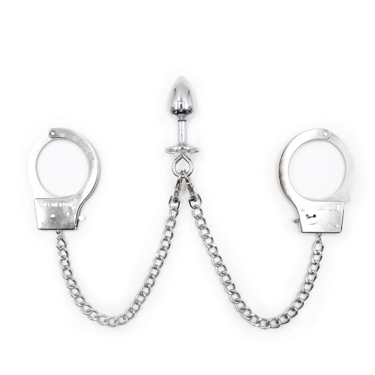 Handcuffs Attached to Crystal Base Butt Plug Set - Sale BDSM, Bondage Gear, Adult Toys, Bondage Sex, Orgasm Belt, Male Chastity, Bondage Gag. Bondage Slave Collars, Wrist Cuffs, Submissive, Dominant, Master, Mistress, Cross Dressing, Sex Toys, Bondage Sale, Bondage Clearance, MEGA Deal Bondage, Sub-Shop Bondage and Fetish Superstore