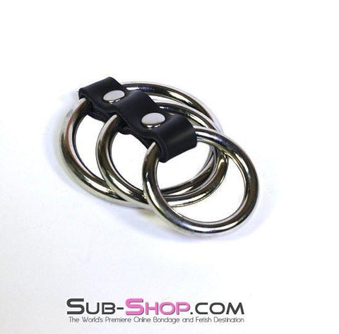 1770A     3 Ring Gates of Hell - Sale BDSM, Bondage Gear, Adult Toys, Bondage Sex, Orgasm Belt, Male Chastity, Gags. Bondage Slave Collars, Wrist Cuffs, Submissive, Dominant, Master, Mistress, Crossdresser, Sub-Shop Bondage and Fetish Superstore