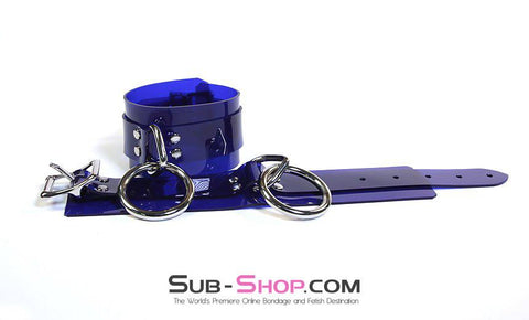 1779A    Vibrant Blue Luxe PVC Wrist Cuffs - Sub-Shop.comWrist and Ankle Bondage - 8