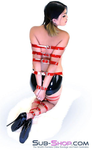 "1792A   Passion Red Luxe PVC 1"" Bondage Straps - <b>6 Sizes!</b> - Sub-Shop.comStraps - 7"