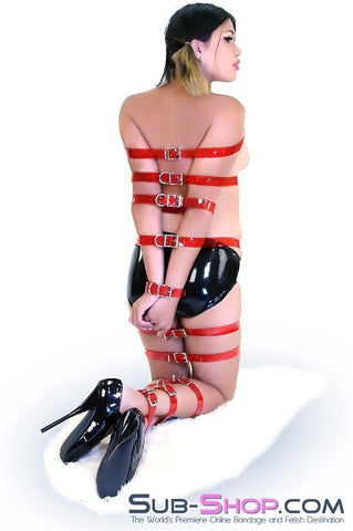 "1792A   Passion Red Luxe PVC 1"" Bondage Straps - <b>6 Sizes!</b> - Sale BDSM, Bondage Gear, Adult Toys, Bondage Sex, Orgasm Belt, Male Chastity, Gags. Bondage Slave Collars, Wrist Cuffs, Submissive, Dominant, Master, Mistress, Crossdresser, Sub-Shop Bondage and Fetish Superstore"